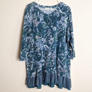 LOGO Lounge blue french terry top pleat women's XL